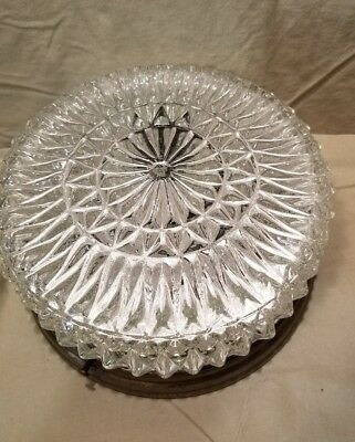 8.5 inch Hollywood Regency Ceiling Light Fixture Clear Diamond Cut Glass