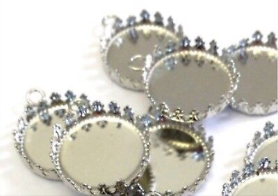 Qty 6 - Silver Plated 20mm Crown Edge Round Bezel Settings for Cabochons, Charms