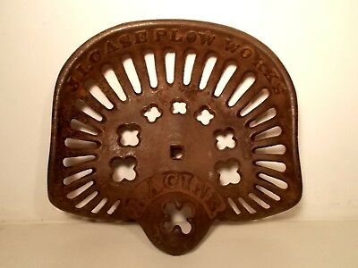 Vintage Cast Iron Racine Wis Tractor Seat Implement Seat J. I. CASE PLOW WORKS