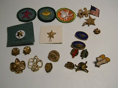 Vintage Assorted Lot of Girl Scouts Pins Patches GSA 19 Pin 3 Patches