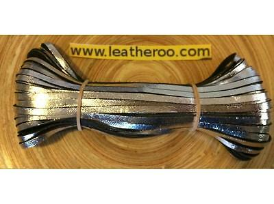 "Kangaroo Lace SILVER Kangaroo Leather Lacing (3.0mm 1/8"" Width) 20 meter hank"