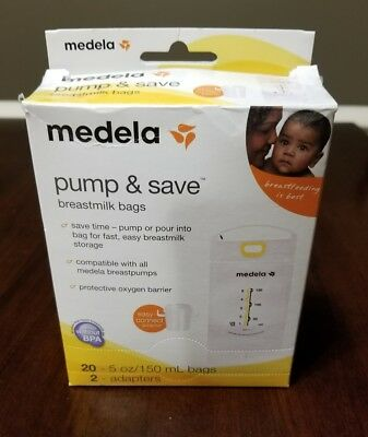New Medela Pump And Save Breast milk Storage Bags 20 Count with 1 Sterilizer Bag