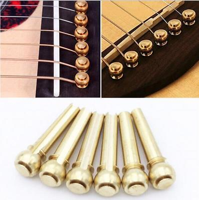 6 Pcs Solid Brass Bridge Pins For Acoustic Guitar Strings Accessories DIY N4
