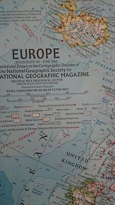 Vintage National Geographic 1962 Map of Europe-Atlas Plate 30