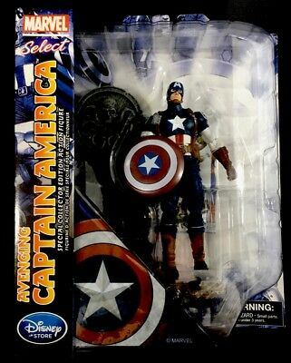 "Disney Store Marvel Select AVENGING CAPTAIN AMERICA Avengers 7"" Diamond Civil"