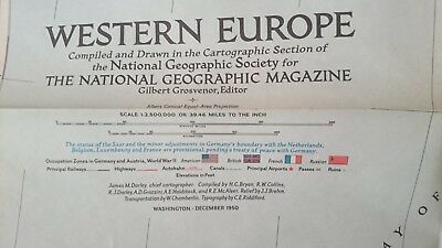 Vintage National Geographic 1950 Map of Western Europe