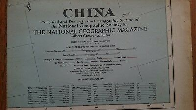 Vintage National Geographic 1945 Map of China