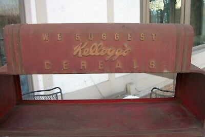 """Vintage 1940's Kellogg's Cereal Display Rack from old Diner /Size 27"""" x 19"""" x 8"""""""