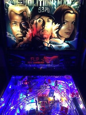 Demolition Man Pinball Machine By Williams With LED's & Mirror Blades