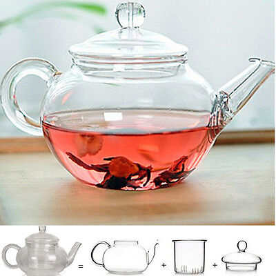 Heat Resistant Clear Glass Teapot With Infuser Coffee Tea Leaf Herbal Pot 250mUW