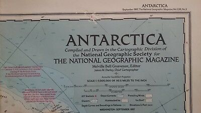 Vintage National Geographic 1957 Map of Antarctica