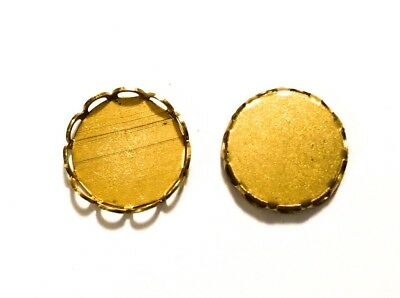 Qty 12 - Lace Edge 11mm Raw Brass Round Bezel Cup Cabochon Settings, New