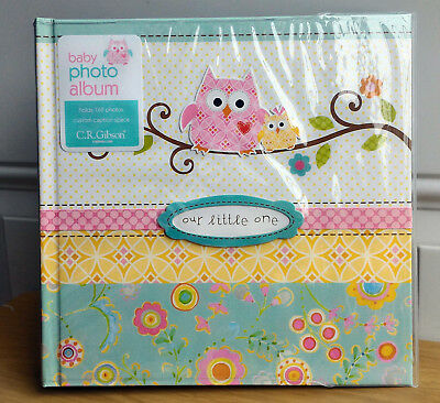 NEW CR Gibson HAPPI Owl Pink Green Baby Girl Large Photo Album 160 4x6 Pic