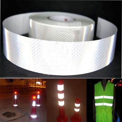 "2""X10' 3M Silver White Reflective Safety Warning Conspicuity Tape Film Sticker Q"