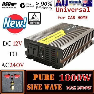 Pure Sine Wave Power Inverter 1000W - 2000W DC12V to AC240V Adapter Converter WN