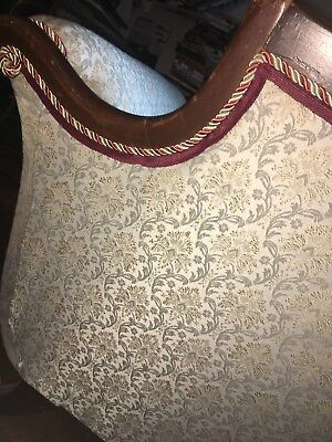 Vtg Victorian Sofa Couch Antique Damask Newly Upholstered Empire Elegant