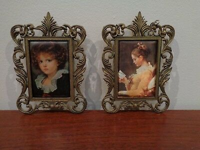 PAIR of VINTAGE ITALIAN SILK PRINTS in BRASS FRAMES, DECORATIVE WALL HANGINGS
