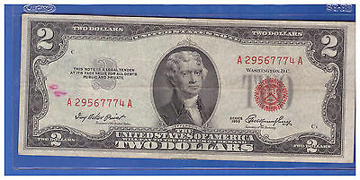 ******(1)-1953  Series United States Note Red Seal $2 Two Dollar Bill  LT H753