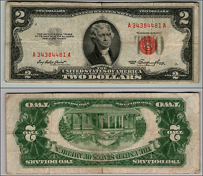 (1)-1953  Series United States Note Red Seal $2 Two Dollar Bill  LT P848