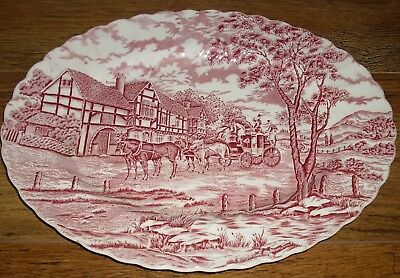 "Myott ROYAL MAIL Large Oval Platter Red And White (Approx 15"" x 11.25"")"