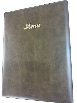 Qty 25 -A4 Menu Holder/cover/folder In Brown Leather Look Pvc