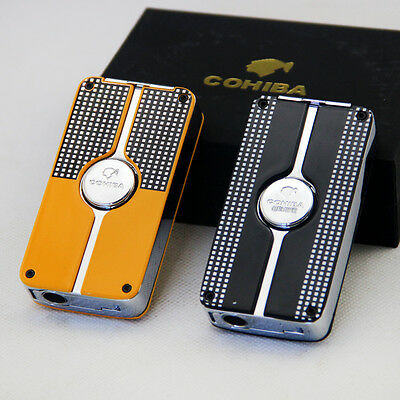 Cohiba Classic Metal Wind-Proof 3 Torch Jet Flame Cigar Cigarette Lighter Punch