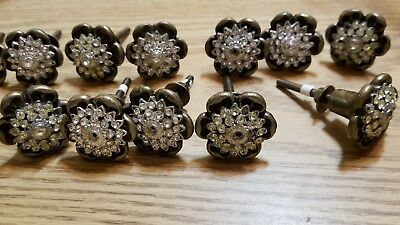 "LOT of 12 Vintage SOLID Brass Single Cabinet Drawer Pull Knobs 1-7/16 "" Dia"