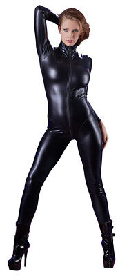 Wetlook Catsuit Langarm XS S M L Bodystocking Overall Leder Latex Optik