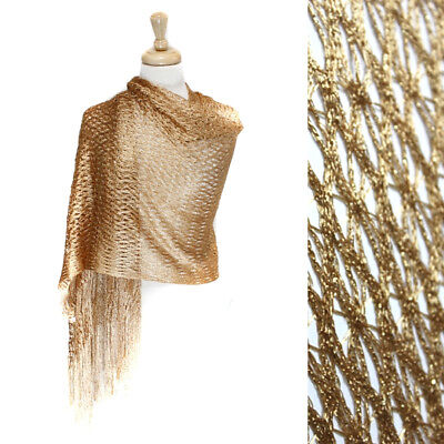 New Womens Gold Shawl Scarf Wrap Cover Up Shrug Lace Light Evening Long