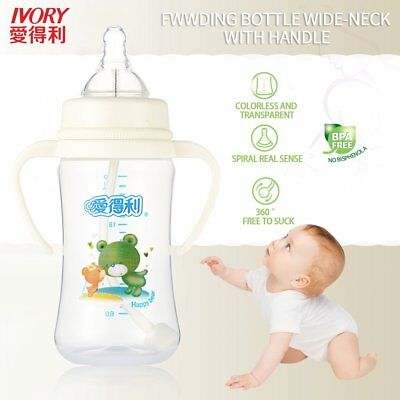 IVORY Baby Feeding Bottle With Straw/Handle Wide Neck PP Big Bottles 240ml-A83 Q