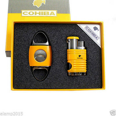 COHIBA Yellow Metal 4 Torch Jet Flame Cigar Lighter With Cigar Cutter Cigar Set