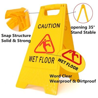 Wet Floor Sign Caution Slippery Cleaning Hazard Safety Warning Yellow Frame