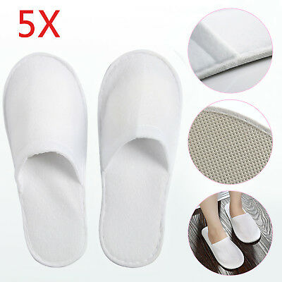 5 Pairs/Lot Disposable Closed Toe Guest Slippers Terry Hotel SPA Slippers Shoes