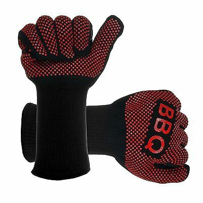1 Pair Safe BBQ Gloves Extreme Heat Resistant Protection Grill Cook Gloves IUGN]