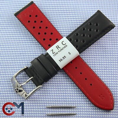 ZRC 20mm Genuine Leather France Black Perforated Watch Band Rally Strap 18mm22mm