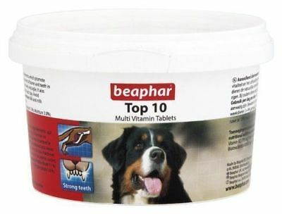 Beaphar Top 10 Dog Multi Vitamins 180 Tablets Tub For Dogs Healthy Bones Teeth