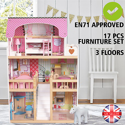 Wooden Dolls House Kids Doll House With 17PCS Furniture & Staircase - DH001
