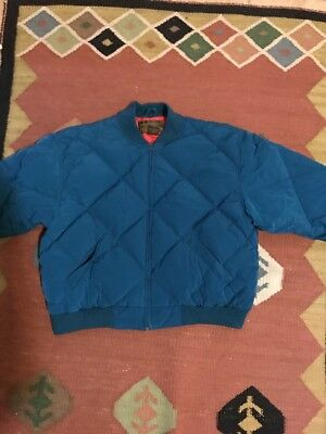 Vintage Diamond Quilted Eddie Bauer Goose Down Jacket Coat Mens L Teal Blue