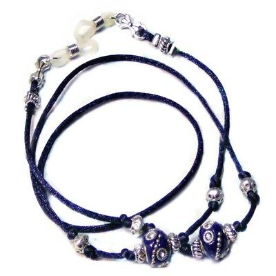 Reading glasses spectacle holder lanyard Dark Navy Blue Cord Indonesian Bead