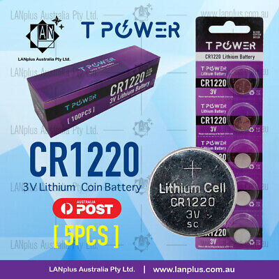 5 x CR1220 3V Lithium Battery STOCK IN Melbourne Button Coin Cell CR-1220
