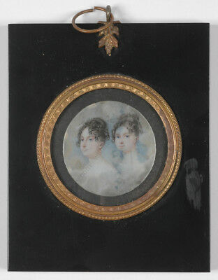 "Moritz Michael Daffinger ""Portrait of two sisters"", fine miniature!!, 1810/20s"
