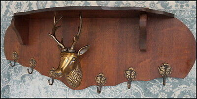 Antique Oak Coat Rack or Wood Shelf Hunting, w/ Brass Deer, Stack