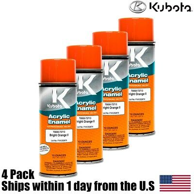 4PK Genuine OEM Kubota Orange Touch Up Spray Paint 70000-73713