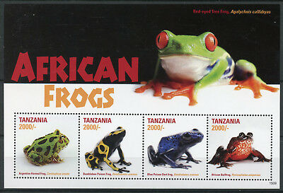Tanzania 2015 MNH African Frogs Poison Dart Frog 4v M/S II Amphibians Stamps