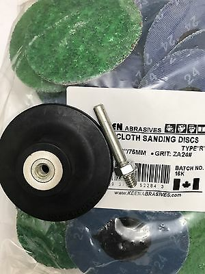 "25- Green 24 Grit 3"" Roloc Discs W/Free Holder, KEEN Abrasives 22843"
