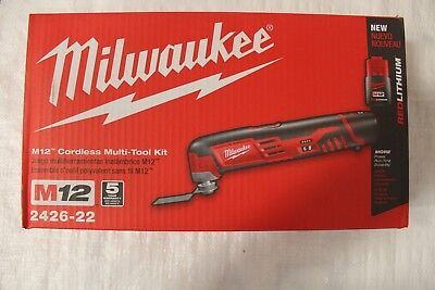 NEW 2426-22 Milwaukee M12 Cordless Multi Tool Kit 12 volts 20000 opm 2 BATTERIES