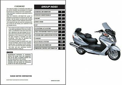 2003 2015 suzuki burgman an650 an650a executive service manual on rh picclick com suzuki burgman 650 service manual download owner's manual suzuki burgman 650