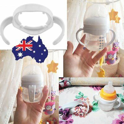 Wide Mouth Baby Cup Feeding Bottle Trainer Easy Grip Plastic Handles Holder NI