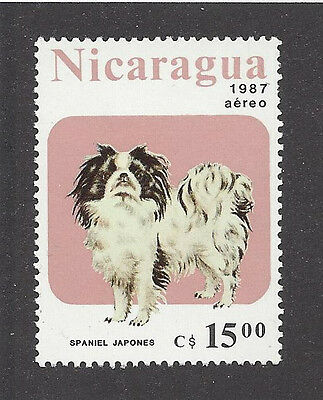 Dog Art Full Body Portrait Postage Stamp JAPANESE CHIN SPANIEL Nicaragua '87 MNH