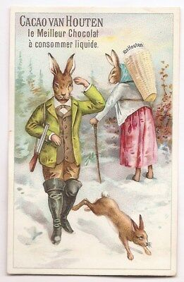 Lapin chasseur Neige Chasse fusil Lièvre -- Chromo Cacao Van Houten - Trade card